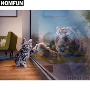 Diamond Painting Cat and Tiger reflection glass