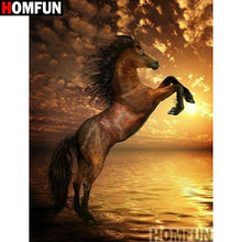Load image into Gallery viewer, diamond painting brown horse sea sunset