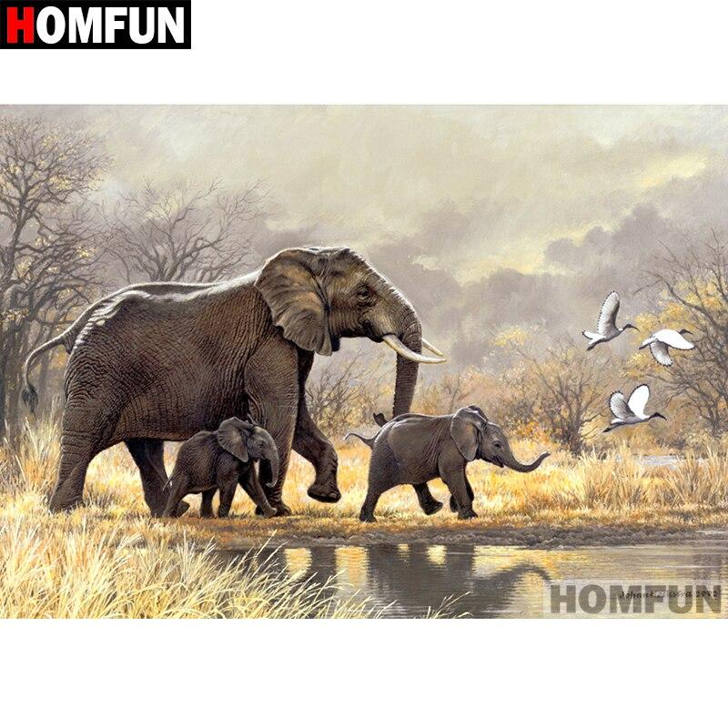 Diamond painting elephant and son savanna