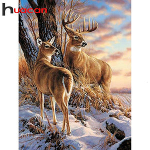 Diamond Painting deers in wood