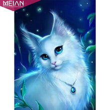 Load image into Gallery viewer, Diamond Painting blue eyes cat lady