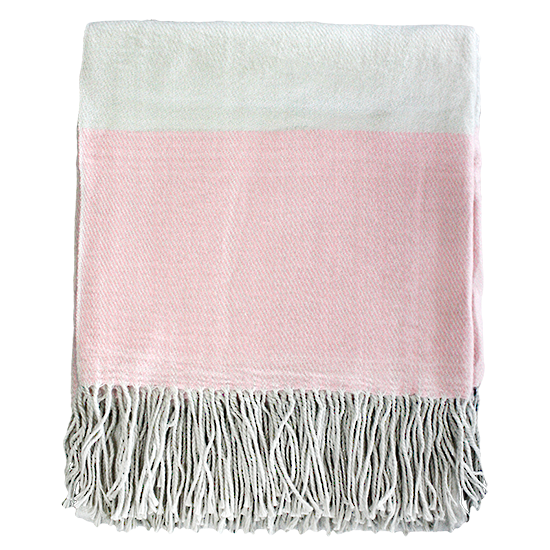 Alexandra Throw - Dusky Pink/Cream