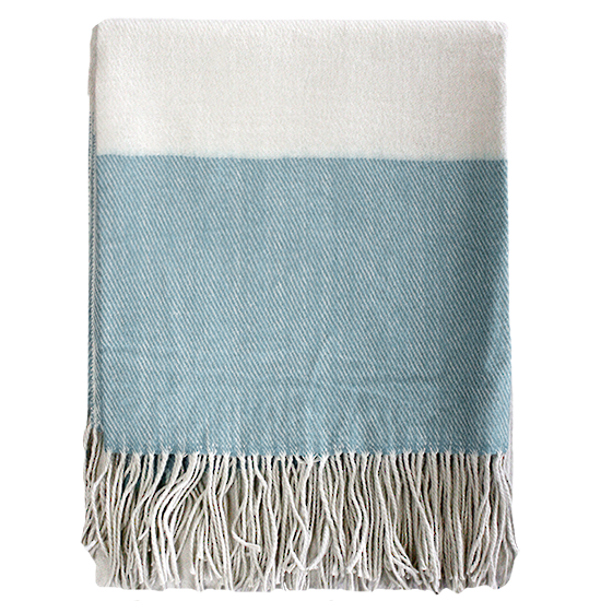 Alexandra Throw - Duck Egg Blue/Cream