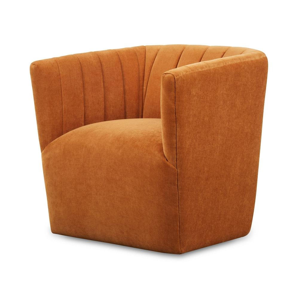 Velour Swivel Chair In Ginger