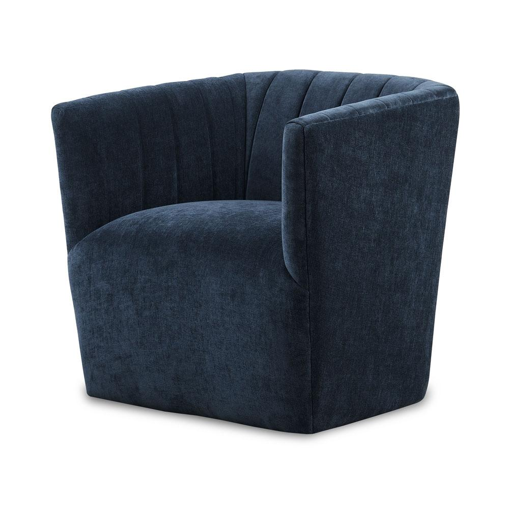 Velour Swivel Chair In Moonlight