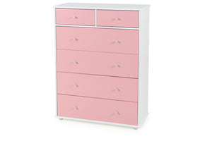 Carnival Tallboy Pink - Five Spilt Drawers