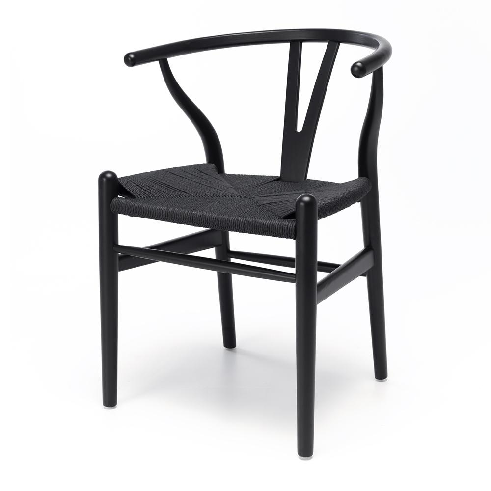 Wishbone Chair Black Oak Black Rope Seat