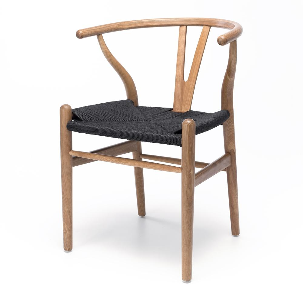 Wishbone Chair Natural Oak Black Rope Seat