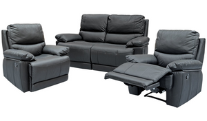 Roya Recliner Suite - TwoRR+R+R (Black Leather)
