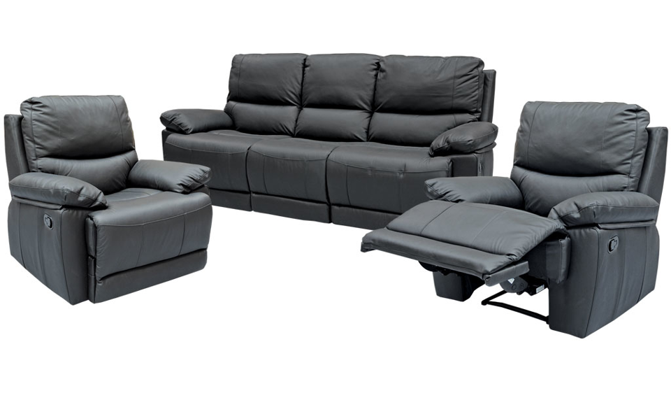 Roya Recliner Suite - ThreeRR+R+R (Black Leather)