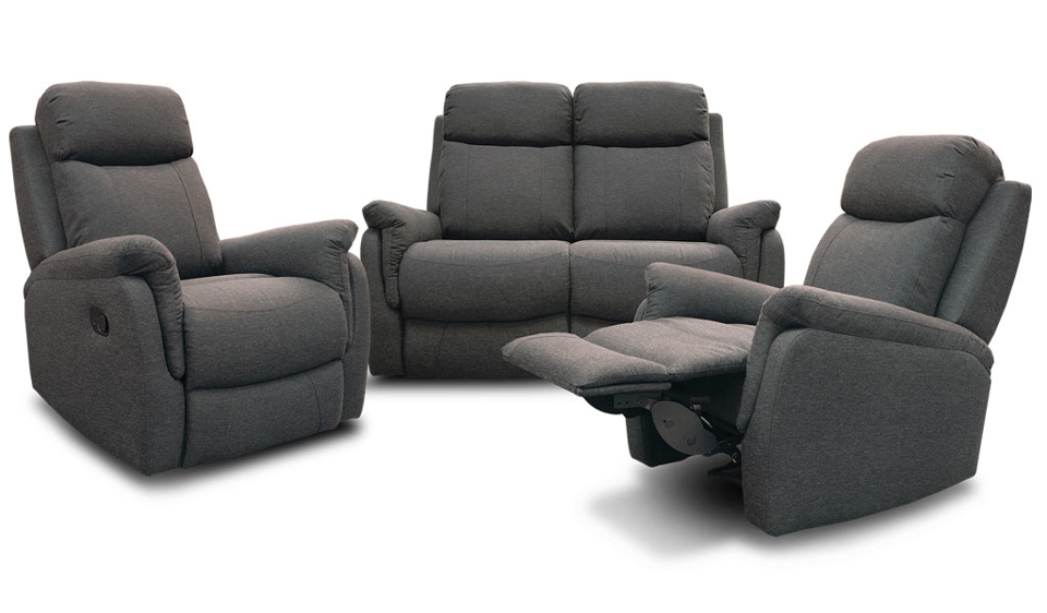 Alani Recliner Suite - Two Seater Recliner + Recliner + Recliner - Midnight