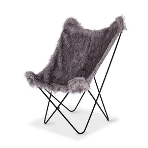 Butterfly Chair - Moggy Grey Fur