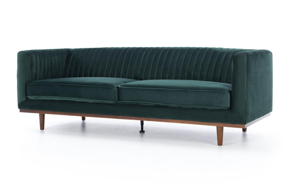 Madison Three Seater - Dark Green Velvet