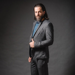 Kurt Notched Lapel Stretch Blazer in Herringbone