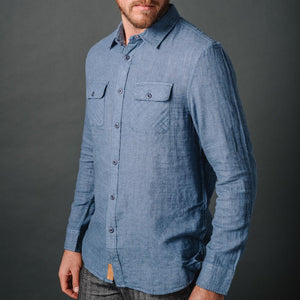 Truman Outdoor Shirt in Blue Double Face