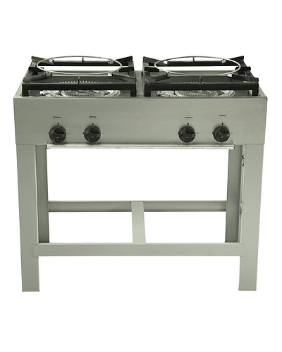 Anafe Industrial 2 platos doble quemador Tipo Wok 430x430 mm.
