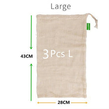 Load image into Gallery viewer, 100% Organic Cotton Mesh Produce Bags Reusable Produce Bags De Life Store 3 Pack - Large
