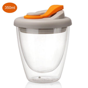 Double Wall Glass Cup With Silicone Lid Double Wall Glass Coffee Cup Lipur