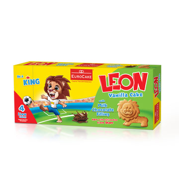 Eurocake Leon Cake Vanilla with Milk Chocolate Filling 4pc Box