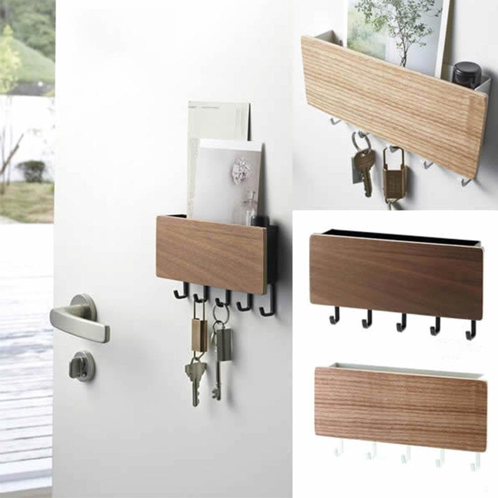 Decorative Wall Hung Shelf with Magnetic Key Hook