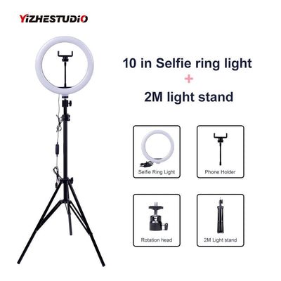 Tripod with Adjustable USB Powered Selfie Ring