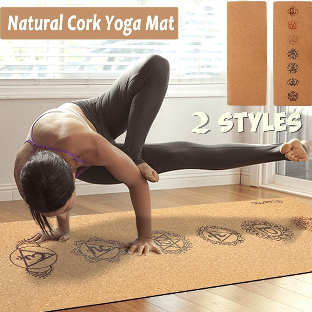 5MM Natural Cork TPE Yoga Mat 183X68cm Non-slip Fitness Sports Gym Pad Pilates Exercise Training Mats with Yoga Bag