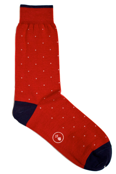 011 - Swiss Dots Red Navy Heel