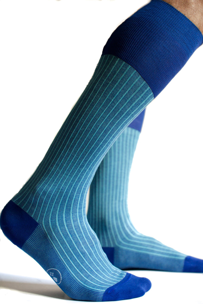 006 - City Stripes - Long Socks - Royal + Light Blue