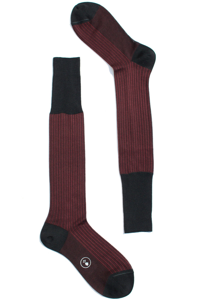 006 - City Stripes - Long - Bordeaux + Black