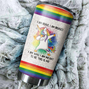 Open image in slideshow, LGBT Im Brave Unicorn Colorful Tumbler