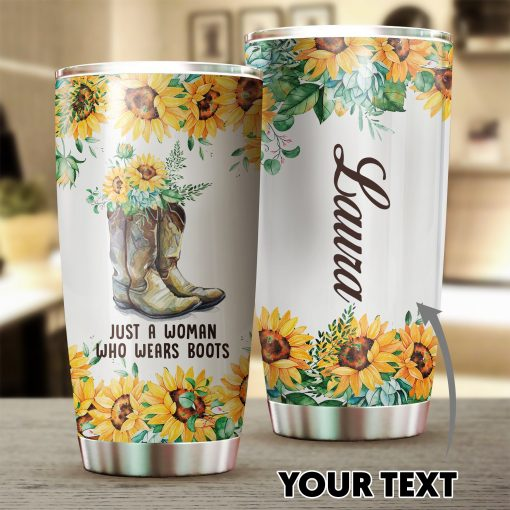 Army Boot Sunflowers Tumbler