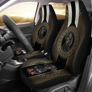 Dachshund Circle Floral - Car Seat Car Seat Covers