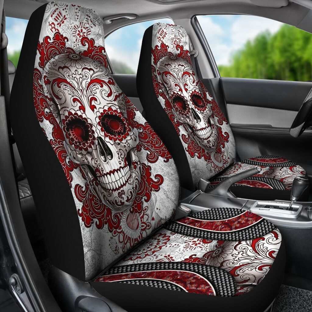 Skull Red Seat Covers Car Seat Covers