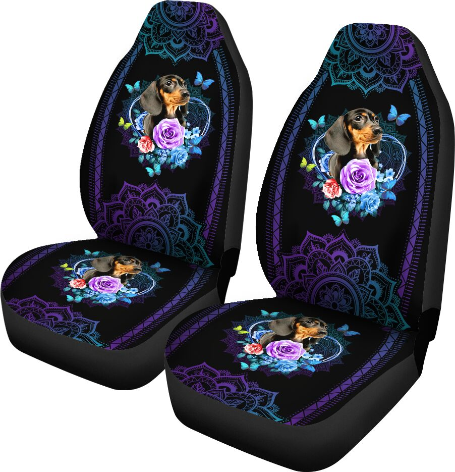 Dachshund Seat Cover Flower Mandala Car Seat Covers