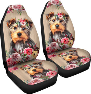 Yorkies Flower Seat Cover Car Seat Covers