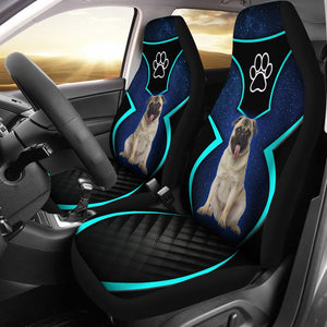 Open image in slideshow, Pug Blue Border - Car Seat Car Seat Covers