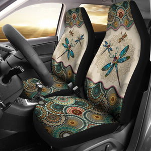 Open image in slideshow, Dragonfly - Vintage Mandala Car Seat Sky Car Seat Covers