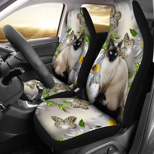 Open image in slideshow, Siamese Cat Flower Butterfly Car Seat Lqt Car Seat Covers