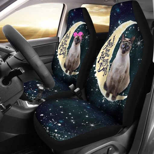 Siamese Cat I Love You To The Moon And Back  Car Seat - Lqt Car Seat Covers