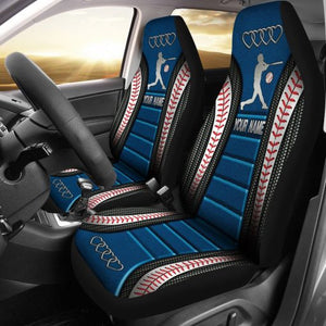 Your Name - Baseball Ad Heart Car Seat Sky Boy Blue Car Seat Covers