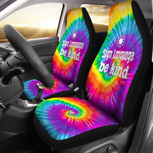 Open image in slideshow, Sign Language Bekind Tie Dye Car Seat Star Car Seat Covers
