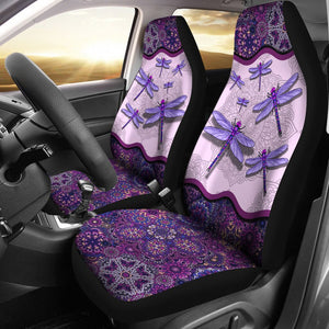 Open image in slideshow, Dragonfly Floral Mandala - Car Seat Car Seat Covers