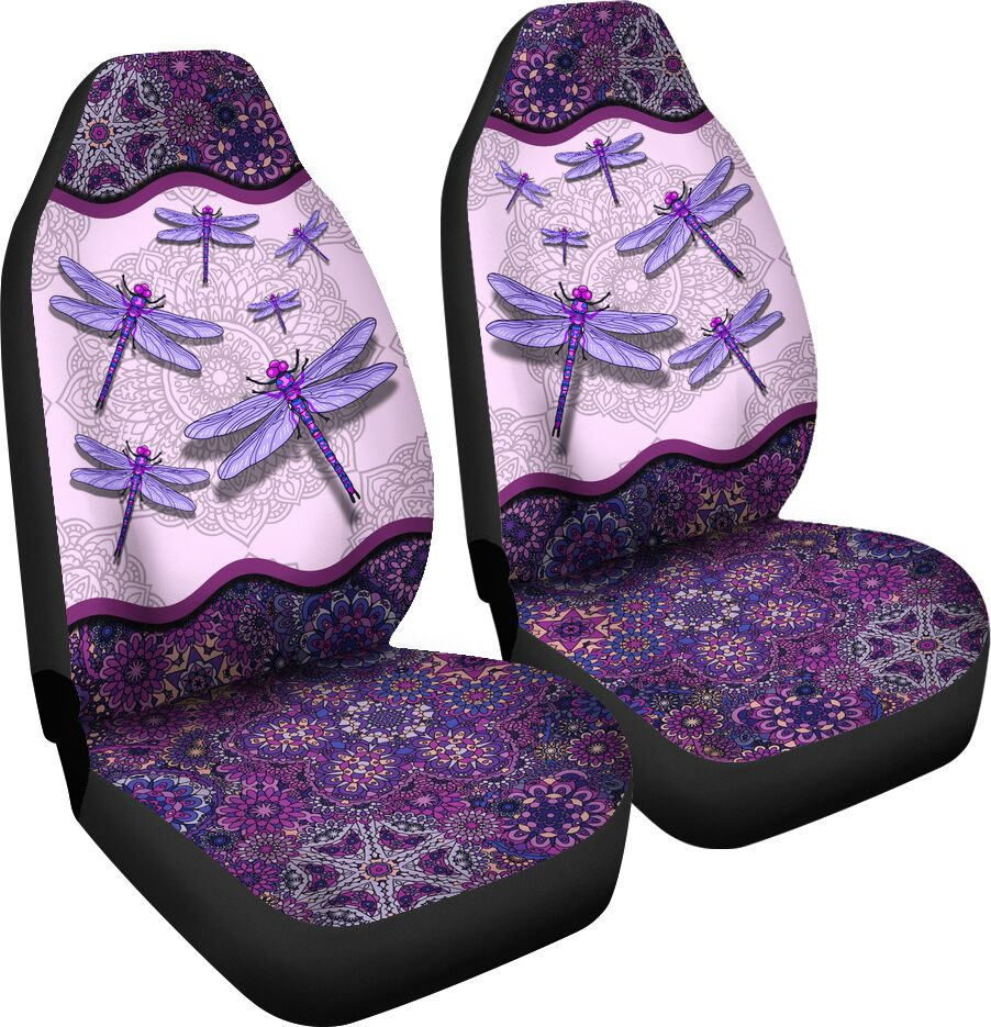 Dragonfly Floral Mandala - Car Seat Car Seat Covers