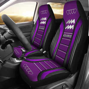 Open image in slideshow, Aquarius Zodiac Sign Seat Covers Purple Car Seat Covers