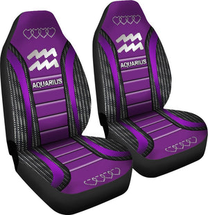 Aquarius Zodiac Sign Seat Covers Purple Car Seat Covers