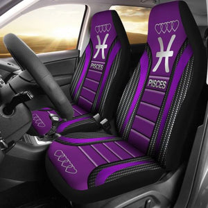 Pisces Zodiac Sign Seat Covers Purple Car Seat Covers