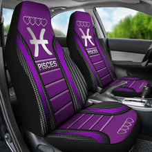 Load image into Gallery viewer, Pisces Zodiac Sign Seat Covers Purple Car Seat Covers
