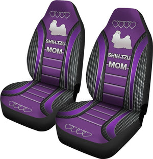 Shih Tzu Mom Dog Seat Covers - Purple Car Seat Covers