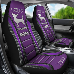 Chihuahua Mom Dog Seat Covers - Purple Car Seat Covers