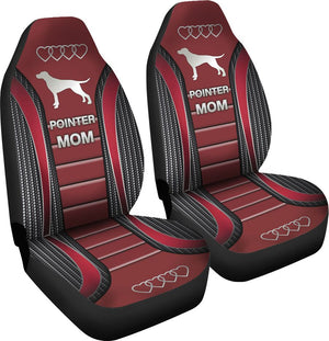 Pointer Mom Dog Seat Covers - Red Car Seat Covers